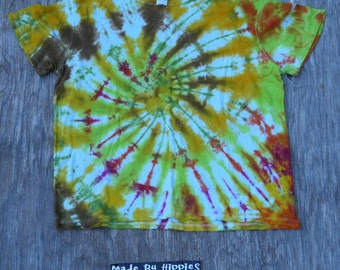 Falling Leaves Spiral Tie Dye T-Shirt (ONNO Hemp/Cotton Size XL) (One of a Kind)
