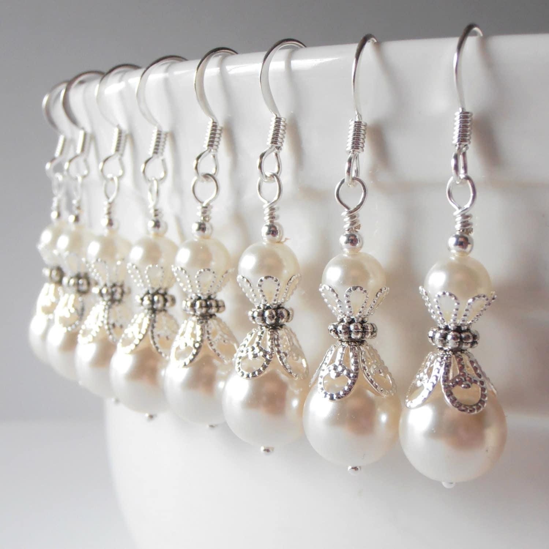 Ivory Pearl Earrings Bridesmaid Earrings Pearl Dangle Earrings