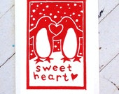 Penguin Valentine Hand Printed Card