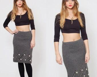 SALE Vintage 80s KNIT Skirt Grey Pencil Skirt FOLK Winter Skirt Embroidered Skirt Knit Midi Skirt