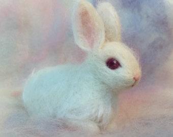 Needle Felted Baby Bunny Rabbit, Albino White, Luxury Pet