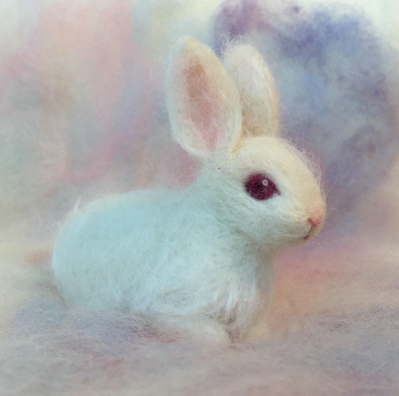 needle felted baby bunny rabbit albino white luxury pet