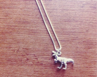T-Rex Charm Necklace, Dinosaur Jewelry, .999 Fine Sterling Silver Plated Venetian Chain Necklace, Nickel Free Jewelry, Free Shipping.