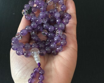 Light Amethyst 108 Bead Mala Necklace