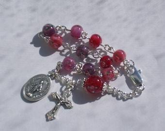 Rosary Bracelet Multi Color Pink Purple Roses Glass Beads