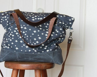 Shoulder Bag in Organic Cotton Canvas with Leather Handles and Waxed Canvas Base. Navy Blue Plus.