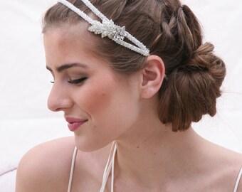 Silver Beaded Double Tie Wedding Headband Vintage Rhinestone Leaf and Flower Wedding Hair Accessory Wedding Headpiece Bridal Headband