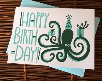 Happy Birthday Octopus Party Card