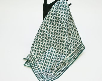 """80's Vera Scarf / Polyester Scarf / Green & Beige /  26"""" Square"""