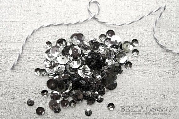 Graphite Gray Sequins - Mix Sequins 5mm 6mm 8mm