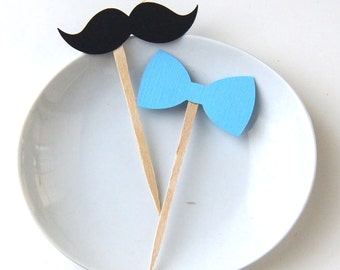 Mustache & Bow Tie DIY Cupcake Topper Kit, Bow Tie Toppers, Mustache Toppers, Party Picks or Skewers