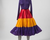80s Colorblock Skirt, Colorful Vintage Tiered Satin Wide Skirt, Bright Color, Disco Rockabilly Small