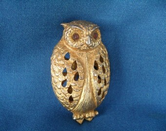 Vintage Gold Owl Necklace Pendant Potpourri, Perfume, Sachet or Trinket, Note Box with Rhinestone Eyes 60s 70s