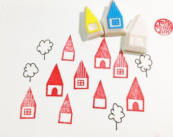 house rubber stamp set. barn hand carved rubber stamp. village town stamp. christmas scrapbooking. gift wrapping. holiday crafts. set of 3