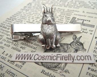 Bunny Rabbit Tie Clip Silver Plated Men's Tie Bar Gothic Victorian Steampunk Alice In Wonderland Rabbit Handcrafted