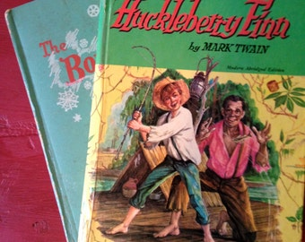 Huckleberry Finn and The Bobbsey Twins, Set of 2 Vintage Childrens Books, 1950s Kids Fictional Literature, Instant Collection on Sale