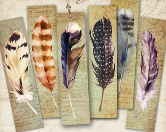 Printable Digital Collage Sheet FEATHERS BOOKMARKS Instant Download, Paper goods for journaling scrapbooking artcult clip art graphics