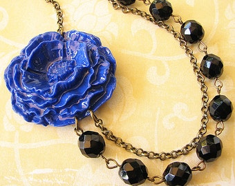 Statement Necklace Black Jewelry Flower Necklace Navy Blue Jewelry Bib Necklace Bridesmaid Gift