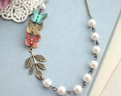 Butterfly Necklace, Colorful Necklace, Teal Blue Green, Red Butterflies, Ivory White Pearl Necklace Bridesmaid Gift Garden Butterfly Wedding