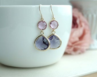 Purple and Lavender Gold Glass Framed Drop Pear Earring. Purple Gold Wedding. Bridesmaids Jewelry, Lavender Wedding. Holiday Gifts. Bridal