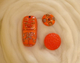 Vintage Orange Glass Buttons - Mummi Moonglow and Art Deco Glass Buttons - 2 with Gold Luster Trim