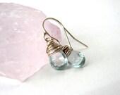 Sterling Silver Aquamarine Wire Wrapped Earrings. Teardrop Briolette Crystal Earrings