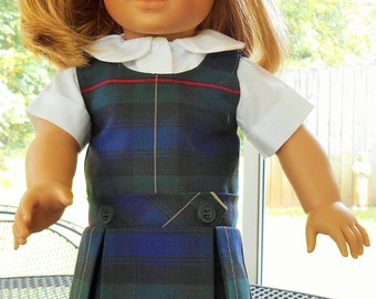 Plaid school uniform  with collared blouse fits American Girl