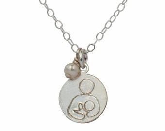 Silver Necklace | Breastfeeding Necklace | International Breastfeeding Symbol | Pearl Pendant | Small Silver Pendant | Gift idea for mom