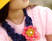 Crochet Braid Necklace With Flower-Navy/Coral Pink