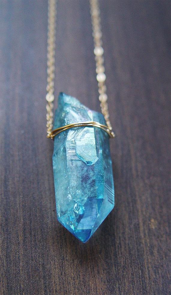 Aqua Aura Crystal Necklace Gold Filled Ooak