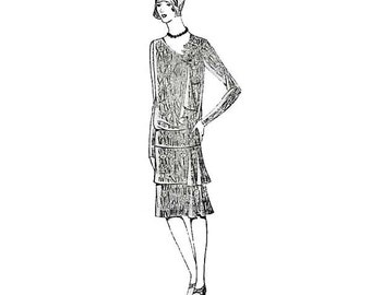 Rare 1920s Flapper Dress Pattern, 20s Mail Order 395, Tiered Skirt, Open Neck with Jabot, Long or Short Sleeves, Bust 34, Vintage Sewing