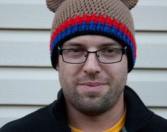 Bucky Bear inspired crochet beanie hat