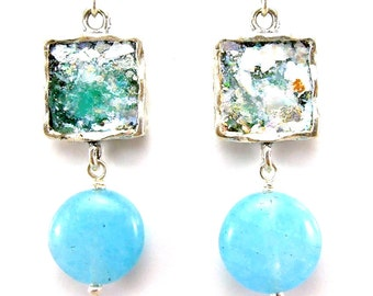Aquamarine earrings with Sterling silver & roman glass