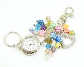 Bold Colorful Flowers and Crystal Glass Cluster Beaded Key Chain, Purse Embellishment, Zipper Pull with Geneva Watch Face