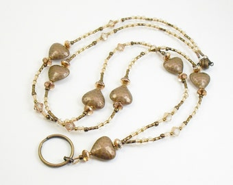 Copper Crystal Glass, Bronze and Copper Hearts Beaded ID Lanyard, Badge Holder, Key Chain Necklace