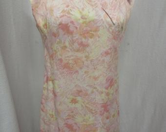 Vintage Mod 1960's Pink Yellow Scribble Sheath Dress Jackie Collar