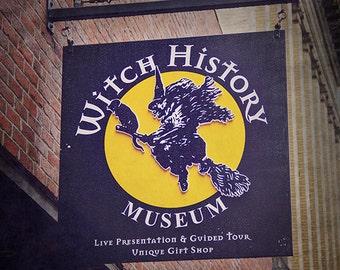 Witch History Museum Sign Photograph, Travel Photography, Salem Halloween Photography, Dark Blue Navy and Gold, Witches, New England Travel