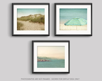 Set of 3 Prints, Beach Photography, Save 15%, Photo Set, Blue Beach, Teal Blue, Ocean Photography, Beach Art, Beach Decor, Summer, Bathroom