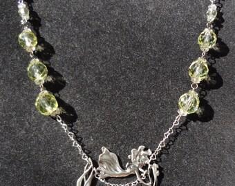 Super Sale--Sweet Vintage Sterling Flower Fairy Necklace