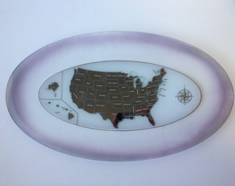 Oval Glass Platter, USA Map