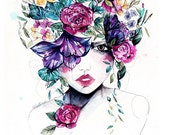 Flower Fro II // Limited Edition giclée print from an original watercolour by Holly Sharpe