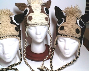 Crochet horse hat with earflaps Animal hat, Horse head beanie Character Hat