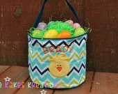 Personalized Easter Basket with Chick Design / Easter Bucket