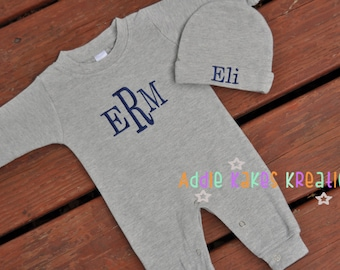 Monogrammed Baby Sleeper - Baby Sleeper and Hat Set - Baby Boy Outfit - Baby Girl Outfit - Take Home Outfit - Personalized Sleeper