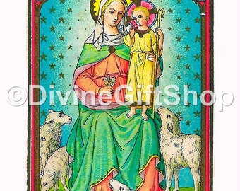 """Icon The Divine Shepherdess. 5"""" X 7"""" Print. Gorgeous Image of The Virgin Mary."""
