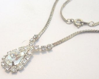 Vintage Silver Tone Herringbone Necklace w/ Large Teardrop Clear Rhinestone