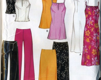 New Look 6082 UNCUT Misses Camisole Tank Top, Summer Dress, Skirt and Hip Hugger Pants Sewing Pattern Sizes 10-22