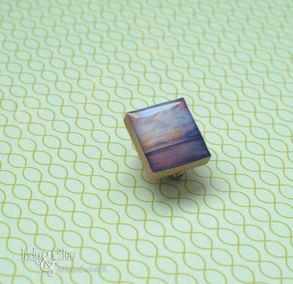 Maui Sunset, Handmade Dusk Scrabble Tile Art Brooch, Pin, Scarf Pin, Lapel Pin, Amethyst Ocean Sunset Brooch, Twilight Sky, Tiny Jewelry