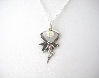 Layering Fantasy Fairy Nymph Swarovski Crystal AB Necklace