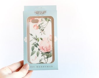 iPhone SE or 5S Case, I Monogram, Pink Roses - Ready to Ship